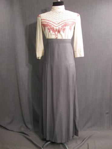 09009072 09008181 Blouse Skirt 1912 ivory pink grey silk B37 W31.5